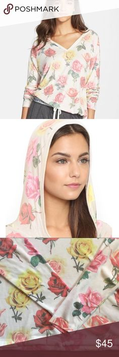 WILDFOX Bright Roses Hangout Hoodie The perfect hoodie for a cozy day at home. V-neck, hooded, drawstring waistband, long sleeve shirt. Slightly fuzzy from wear( shown in pictures) Wildfox Tops Sweatshirts & Hoodies