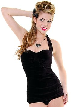 Vintage Inspired Swimsuit 50's Style Black Velvet One Piece Swimsuit - Unique Vintage - Prom dresses, retro dresses, retro swimsuits.