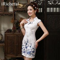 iRicheraf White Chinese Traditional Dress New Arrival Women Mandarin Collar Slim Low Vents Cotton Cheongsam Short Qipao Top Hot. Cheongsam Modern, Cheongsam Dress, Batik Dress, Ao Dai, Traditional Dresses, Asian Fashion, Marie, Fashion Dresses, Dress Up