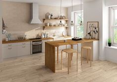 Choose this #wood effect #porcelain #tile to create a trendy #kitchen with all the advantages #ceramics have.
