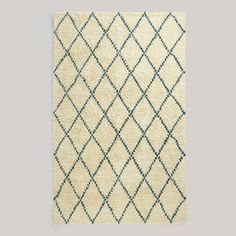 5' x 8' Teal Ivory Moroccan-Style Shag Rug | World Market