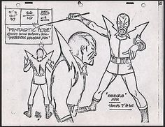 ALEX TOTH Fantastic Four Xerox production model sheet MATTED Hanna-Barbera 1967