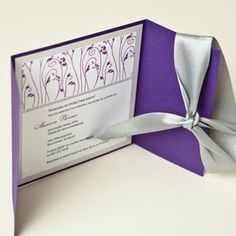 Purple & silver wedding invitation
