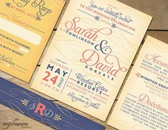 Flourish Calligraphy Printable Wedding Invitation Suite by MyCrayonsPapeterie // Coral, Navy and Yellow Cream
