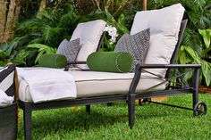 Customize your Own Look! Choose from a variety of weather resistant fabrics & frame colors. The Andover Chaise by Woodard Outdoor Collections is the epitome of casual chic! For more on this collection, shop at CarlsPatio.com. #carlspatio #woodard #outdoorfurniture #patiofurniture