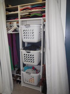 His & Hers Closet Laundry Basket Dressers | Do It Yourself Home Projects from Ana White. Genius! Put the laundry in the closet