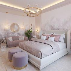 """ДИЗАЙН ИНТЕРЬЕРА ✏️ ДИЗАЙНЕР na Instagrame: """"Панорамные обои гармонично дополнили дизайн спальни в пудро-розовом цвете…"""" Bedroom Inspo, Bedroom Ideas, Couch, Rose Gold Decor, Furniture, Classy, Home Decor, Elegant, Interior"""
