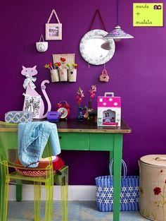 morro de vontade de ter uma parede purple rain * verde + roxo