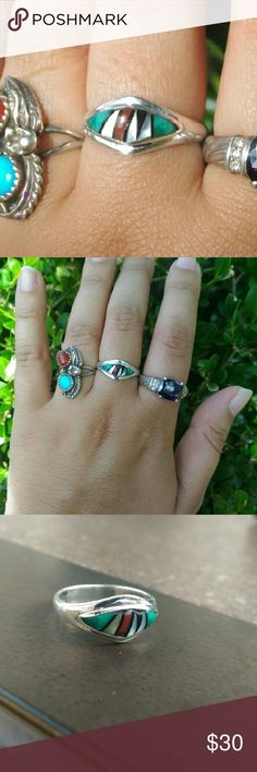Sterling silver inlay ring Sterling silver inlay ring. Size 6.5. Either Zuni or Zuni style. Not marked but acid tested. Coral piece is scratched or cracked but secure. Priced accordingly. Jewelry Rings