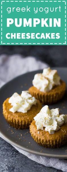 These Mini Greek Yogurt Pumpkin Cheesecakes are only 130 calories each!