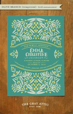 Birth Announcement (Olive Branch - Turquoise) - Modern Botanical