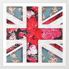 God save the Queen | Elegant girly red floral & lace Union Jack  Art Print by Girly Trend -