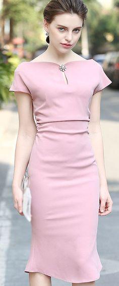 Stylish Short Sleeve Falbala Mermaid Slim Dress