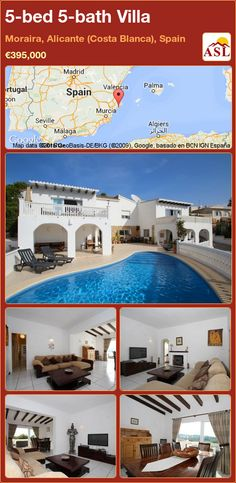 Villa for Sale in Moraira, Alicante (Costa Blanca), Spain with 5 bedrooms, 5 bathrooms - A Spanish Life Murcia, Valencia, Kidney Shaped Pool, Dining Room Fireplace, Kids Play Area, Entrance Hall, Double Bedroom, Best Location, Alicante Spain
