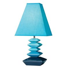 Searchlight 1420TE Stack 1 Light Ceramic Table Lamp Teal