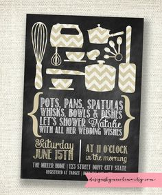 Chalkboard and Chevron Kitchen Shower You Pick the Colors PRINTABLE Invitations. $18.00, via Etsy.