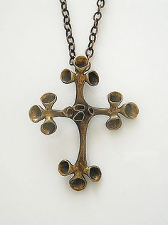 Hannu Ikonen Crucifix Reindeer Moss Necklace, Finnish,Bronze, Renmoosblute, Vintage Jewelry,Modernist
