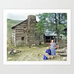 Sisters Outside their Cabin, Sevier County, Tennessee ca 1935 (uncaptioned) Art Print Colorized History, Meet The Artist, Buy Frames, Tennessee, The Outsiders, Sisters, Gallery Wall, Cabin, Art Prints