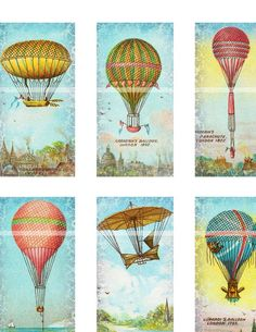 Antique Hot Air Balloons and Air Ships domino digital collage