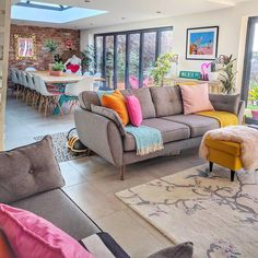home living room Colourful and quirky open plan living and dining room Room Interior, Interior Design Living Room, Living Room Designs, Colorful Interior Design, Interior Livingroom, Colourful Living Room, Colorful Family Rooms, Colorful Dining Rooms, Living Room Wall Colours