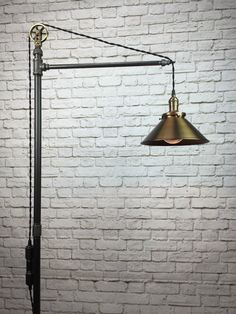 Industrial Floor Lamp Antique Brass Shade by newwineoldbottles