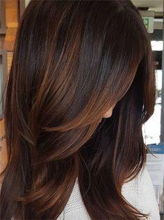 Cinnamon Hot Chocolate hair color Brown Auburn Hair, Brown Ombre Hair, Brown Hair Copper Highlights, Dark Copper Hair, Lob Ombre, Medium Auburn Hair, Cool Brown Hair, Copper Balayage, Hair Color Auburn