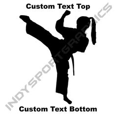 Silhouette Martial Arts or Karate Girl - Custom Top and Bottom Text - Vinyl Car Decal Sticker - Free Shipping