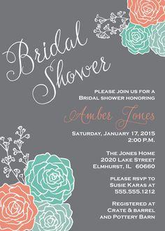 Coral & Mint Bridal Shower Invitation, Gray Chalkboard