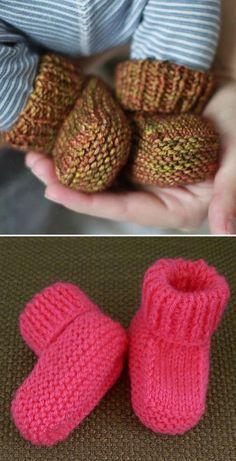 Baby Booties Knitting Pattern, Baby Boy Knitting Patterns, Knit Baby Booties, Baby Hats Knitting, Knitting For Kids, Knitting Stitches, Free Knitting, Knitting Projects, Crochet Patterns