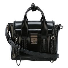 3.1 Phillip Lim Pashli Mini Satchel ($950) ❤ liked on Polyvore featuring bags, handbags, accessories, women, leather handbags, mini backpack purse, black purse, leather satchel handbags and mini handbags
