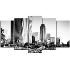 Tableau Polyptyque Urbain : Los Angeles en Noir et Blanc