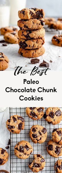 The best paleo chocolate chip cookies made with almond and coconut flour in just 15 minutes. These chewy paleo chocolate chip cookies are gluten free, grain free Paleo Chocolate Chip Cookies, Paleo Cookies, Healthy Cookie Recipes, Healthy Baking, Snack Recipes, Healthier Desserts, Kitchen Recipes, Paleo Recipes, Free Recipes