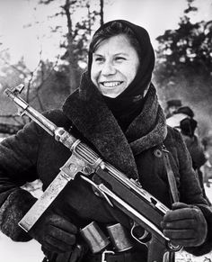 Nastya, a Belorussian female partisan with a captured German MP38 submachine…pin…