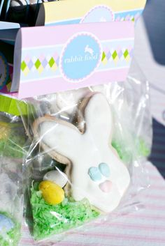 Take a look at these cute bunny cookie Easter part favors! See more party ideas and share yours at CatchMyParty.com
