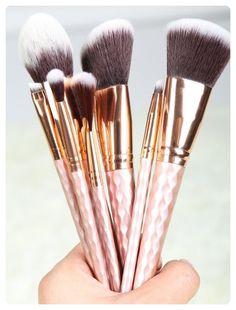 f56d77b0648 8 Pcs Rhombus Handle Fiber Makeup Brushes Set (Rose gold) Styling Brush