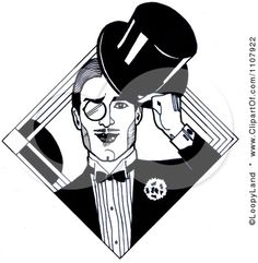 Clipart Black And White Art Deco Styled Dandy Gentleman With A Monocle And Top Hat - Royalty Free Illustration by LoopyLand Gentleman Hat, Dandy Style, Clip Art Pictures, Royalty Free Clipart, Clipart Black And White, Free Cartoons, Free Illustrations, White Art, Cartoon Styles