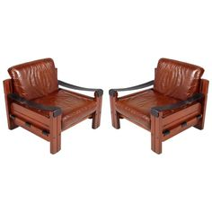 Pair of Italian Armchairs, Massive Wood, Genuine Leather by Afra e Tobia Scarpa 1