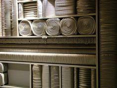 Super Potato Design rolled up fabric Restaurant Trends, Classic Restaurant, Restaurant Design, Wall Patterns, Textures Patterns, Leaf Design, Wall Design, Shelving Design, Visual Texture