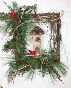 Christmas Wreath, Square Wreath, Twig Wreath, Winter Wreath by HeatherKnollDesigns on Etsy