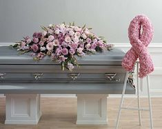 Pink Ribbon Arrangement Funeral Flowers By Lorraine Casket Flowers, Funeral Flowers, Funeral Floral Arrangements, Flower Arrangements, Funeral Caskets, Best Flower Delivery, Funeral Sprays, Casket Sprays, Funeral Tributes