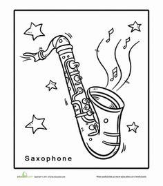 kindergarten music worksheets saxophone coloring page