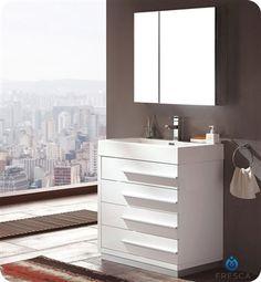 "Fresca Livello 30"" White Modern Bathroom Vanity w/ Faucet & Medicine Cabinet $1099"