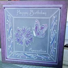 Jayne's Fuschia and Alphabet picture frame plates Groovi card created by Vicki 123 Cards, Clarity Card, Parchment Design, Alphabet Pictures, Parchment Cards, Butterfly Template, Card Patterns, Pop Up Cards, Birthday Greeting Cards