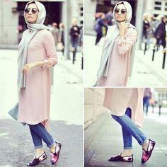 pastel long tunic casual hijab- Hijab fashion magazine http://www.justtrendygirls.com/hijab-fashion-magazine/
