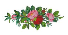Horizontal roses with other flowers antique pattern for cross stitch or gobelin Cross Stitching, Cross Stitch Embroidery, Cross Stitch Patterns, Vintage Cross Stitches, Cross Stitch Rose, All The Colors, Needlepoint, Diy And Crafts, Flowers