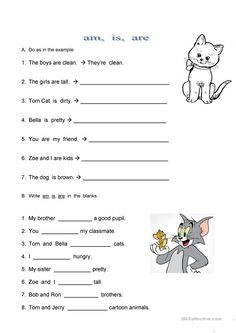 A worksheet of three tasks to practise the use of the verb 'to be'. The seond task is choosing the right type of the verb. English Grammar For Kids, Learning English For Kids, Teaching English Grammar, English Worksheets For Kids, Kids Math Worksheets, Kids English, English Activities, Teaching Activities, English Lessons