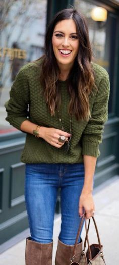 Green Knit / Bleached Skinny Jeans... - Street Fashion