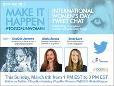 Please join our tweet chat this Sunday to celebrate International Women's Day! #IWD2015 #TogoRunWomen