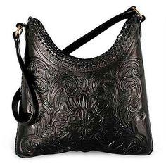 Hand Tooled Leather Shoulder Bag - Nocturnal Flower | NOVICA
