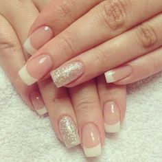 A French manicure is one of the most common wedding nail designs, although it is usually combined with some other design. Nail Designs 2015, French Tip Nail Designs, French Nail Art, French Tip Nails, Pretty Nail Colors, Pretty Nail Art, Nail Manicure, Gel Nails, Fabulous Nails